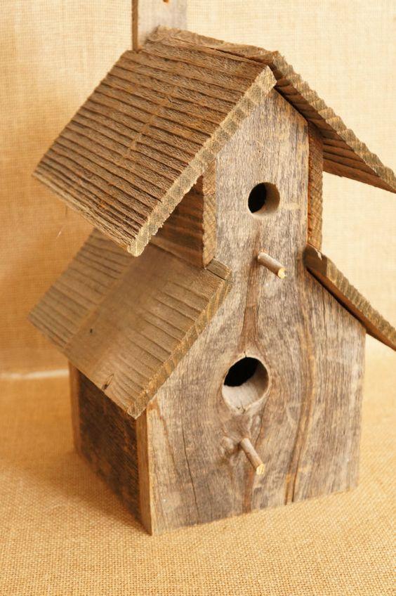 Large rustic barnwood barn wood birdhouse bird house for Wooden bird house plans