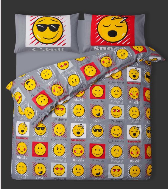 Double Bed Duvet / Quilt Cover Bedding Set Smiley Bedding Emoji / Faces / Expressions / Emoticons