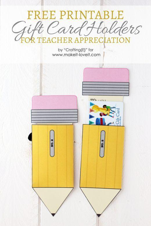Teacher Appreciation Gift Card Holders Teacher Appreciation Gift