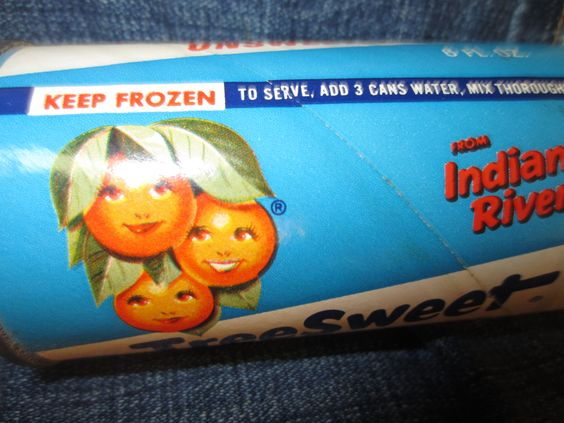 Vintage TreeSweet Frozen Concentrated Orange Juice from Indian River empty can
