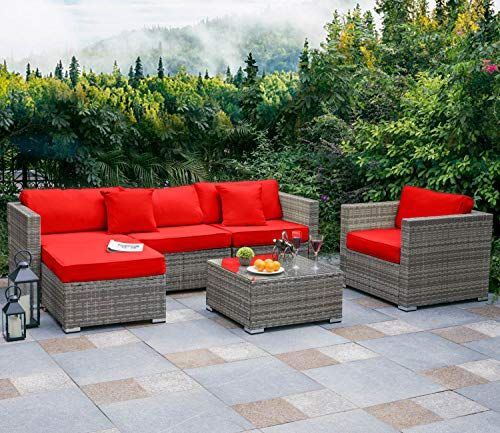 Tribesigns 6 Pcs Outdoor Furniture Sectional Sofa Set Large