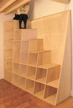 shelves and stairs. this would be ideal for the garage.......and walk up to the attic storage!