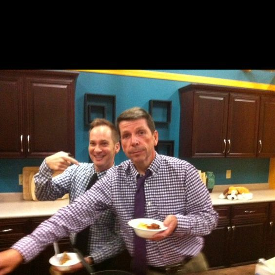 Matching Tablecloth outfits for rhubarb party in WCAX kitchen.