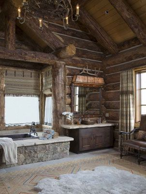 House ideas westerns and log homes on pinterest for Ranch bathroom ideas