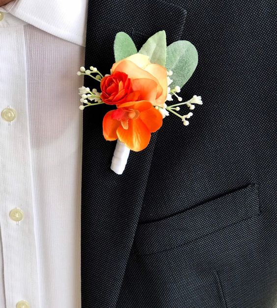 Excited to share this item from my #etsy shop: Boutonniere, Orange Boutonniere, Groom, Groomsman, Father of the Groom, Best Man, Father of the Bride, Prom, Orchid, Wedding Boutonniere