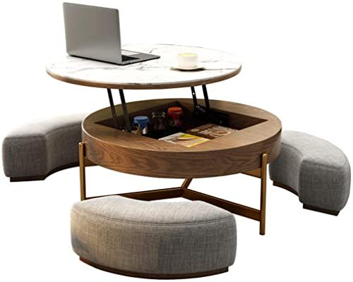New Creative Round Coffee Table Liftable Desk Tempered Glass Table Top 3 Combined Stools Living Room Office Online In 2020 Tempered Glass Table Top Coffee Table Round Coffee Table