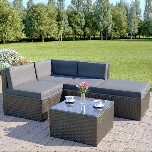 Lantin 4 Seater Rattan Corner Sofa Set Sol 72 Outdoor Colour Dark Grey Grey With Images Corner Sofa Set Rattan Corner Sofa Sofa Set