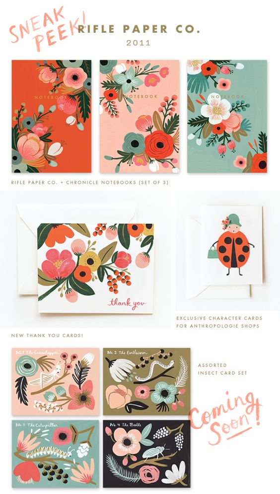 New paper goods and collaboration sneak peeks from Rifle Paper Co. Spotted on Poppytalk - poppytalk.blogspo...