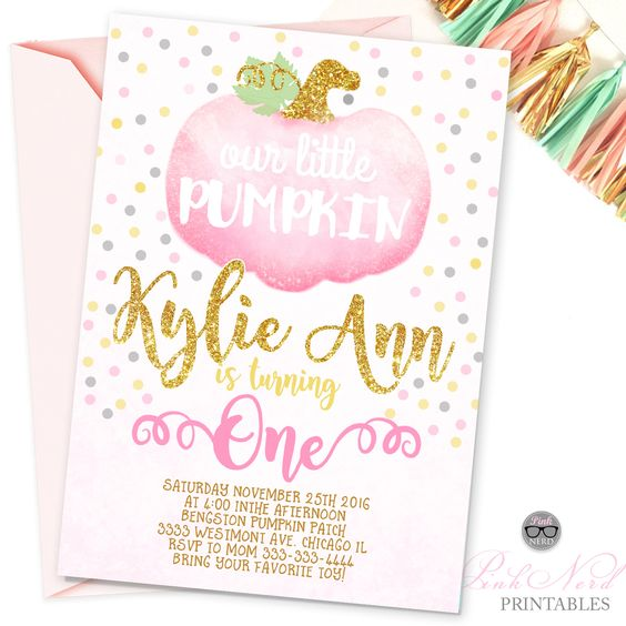 Fall Glitter pink first birthday invitation - Pink Nerd Printables PINK LITTLE PUMPKIN is on her way fall girl baby shower invitation rustic pink and gold watercolor