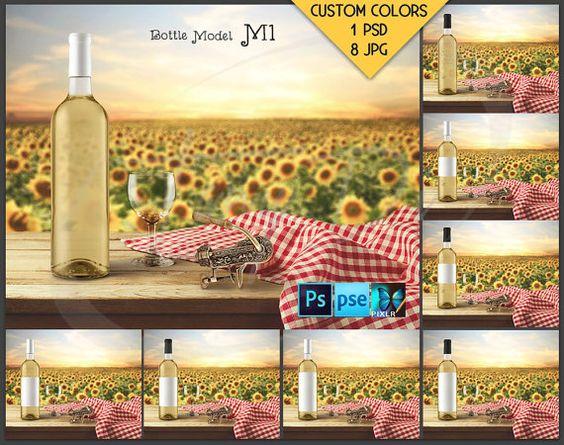 Bottle #M1BG01 Wine Bottle With White Wine On Outdoor Wooden Table,  Corkscrewu2026