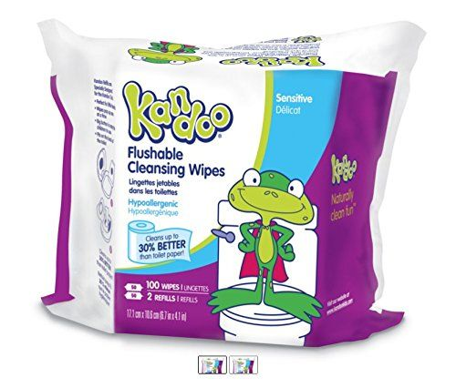 Kandoo Kids Flushable Wipes Pack of 6 Potty Training Cleansing Cloths with Refillable Tub 50 Count Sensitive