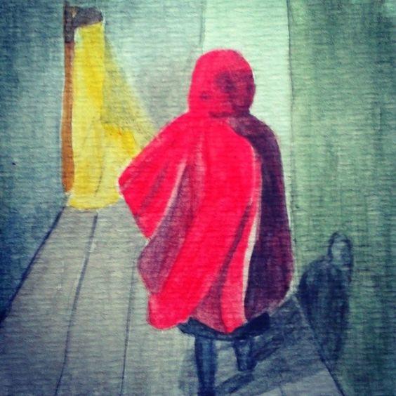 Caputxeta Vermella - Caperucita Roja - Little Red Riding Hood una trasnochada Caperucita Roja regresando a casa después de una noche de desenfreno en la jungla de la ciudad. Quién sabe qué lobo feroz se habrá cruzado en su camino... Acuarela inspirada en la buenisima foto que le hizo mi hermana @lareki y que podéis ver en su perfil.