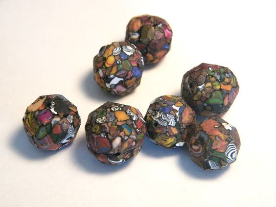 Using scrap polymer clay to make awesome faceted beads | Art Jewelry Elements: Polymer Clay How To - faceted crackle beads