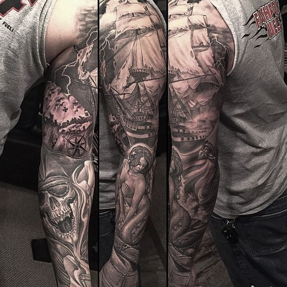 """""""Started this pirate themed arm a few years ago , managed to get it done today"""""""