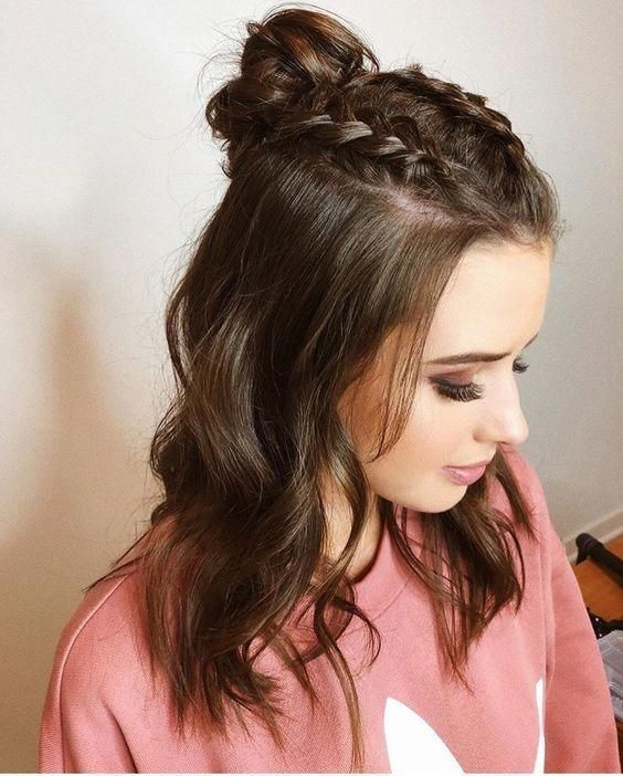 Easy Braided Hairstyles For Medium Length Hair Promhairstylesforlonghair Braided Hairstyles Easy Meduim Length Hair Hair Styles