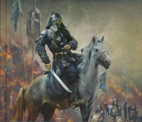 Genghis Khan razing a Russian town