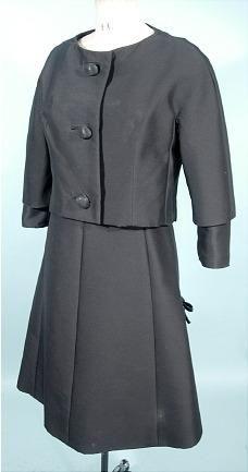 c. 1950 CHRISTIAN DIOR - New York 2-piece Dress  with Jacket of Black Silk/Wool Blend