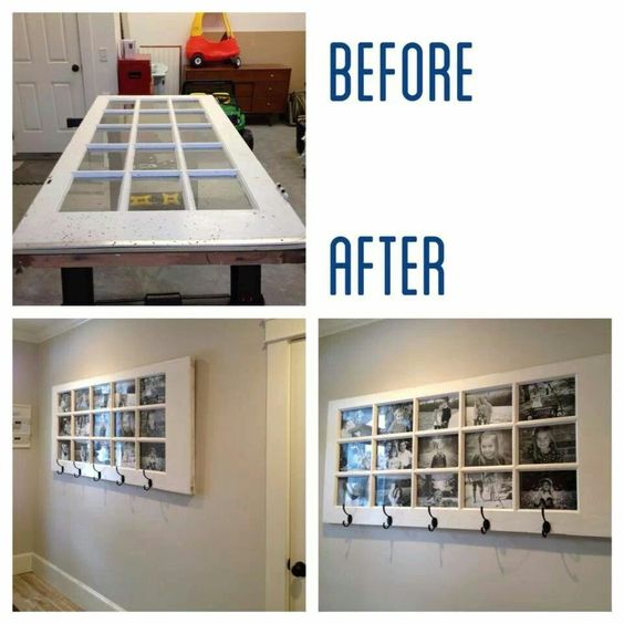An old glass door changed into a photo frame with hooks - looks awesome