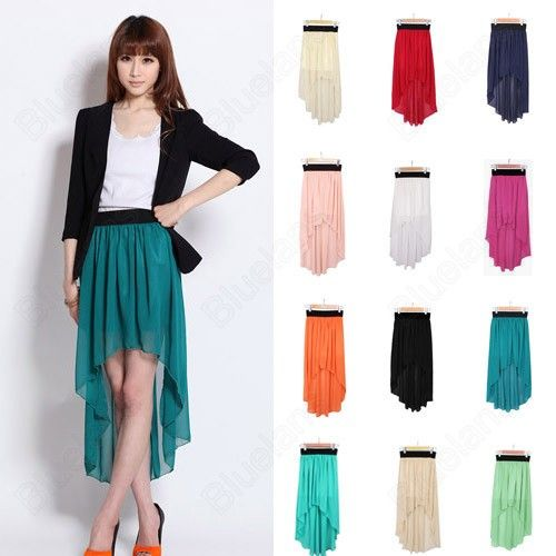 Discount China china wholesale Women Chiffon Sexy Elegant Asymmetric Long Maxi Skirt Elastic Waist Band 9 Color [30393] - US$10.99 : Bluelans