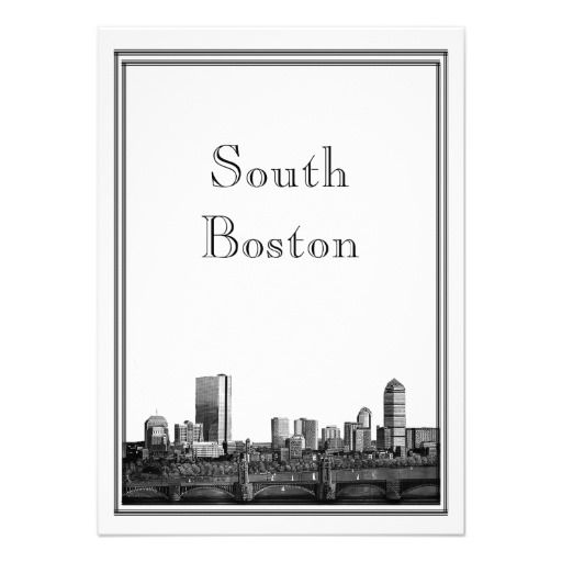 boston destination wedding south boston invitations boston skyline