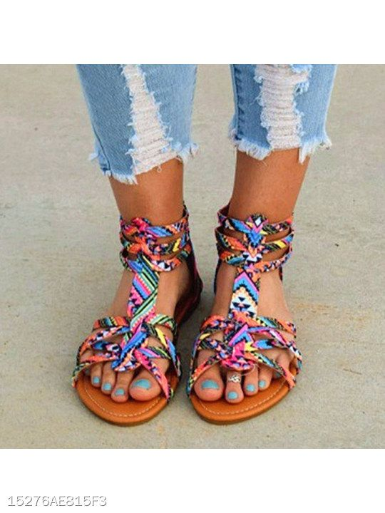 Floral Flat Ankle Strap Peep Toe Casual