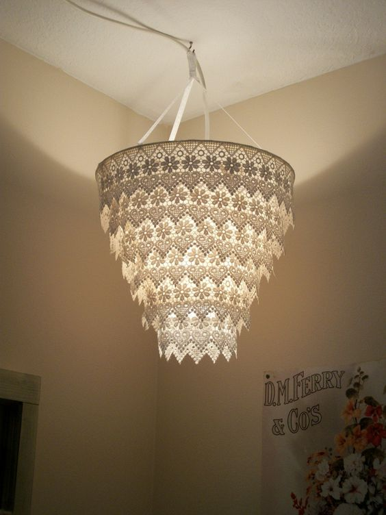 paper chandelier lace lamp and on july on pinterest. Black Bedroom Furniture Sets. Home Design Ideas