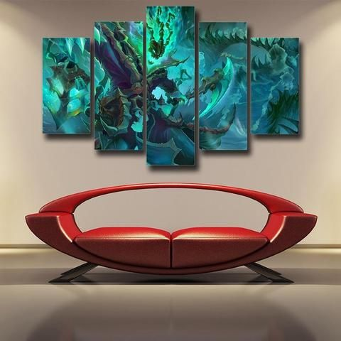 League Of Legends Thresh Warrior Champion Classic 5pc Canvas Decor Canvas Decor Gaming Wall Art Video Game Wall Art
