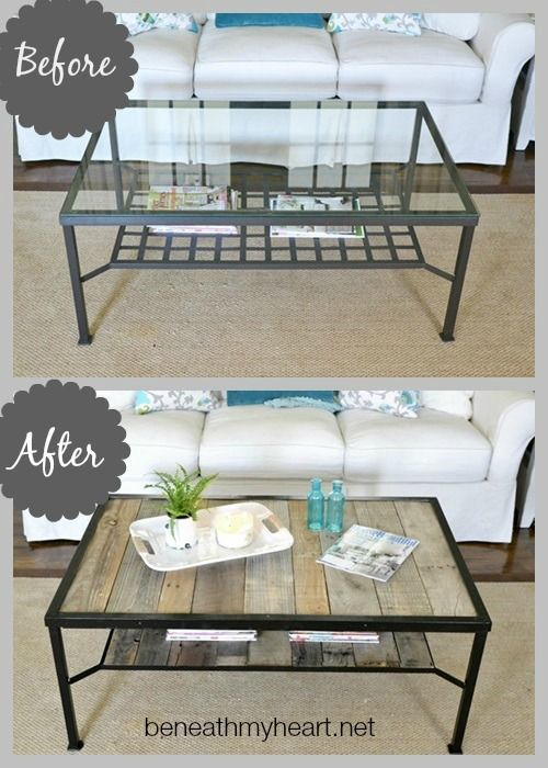 Coffee table makeover industrial industriel palettes for Vieux meubles restaures