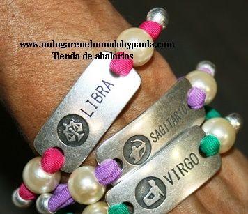 Cinta tubular de lycra con conectores de zamak con los signos del zodiaco. Los materiales ya están en nuestra tienda online.