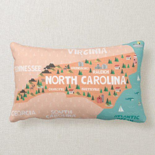 North Carolina Illustrated Map Lumbar Pillow 32 35 By Junkydotcom Pillows Throw Pillows Illustrated Map