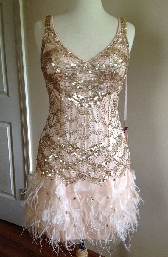 Blush Wedding Dress With Feathers : Sue wong gatsby blush sequin beaded feather bridal evening