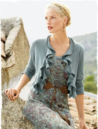 Coastal cardigan and garden tapestry dress: