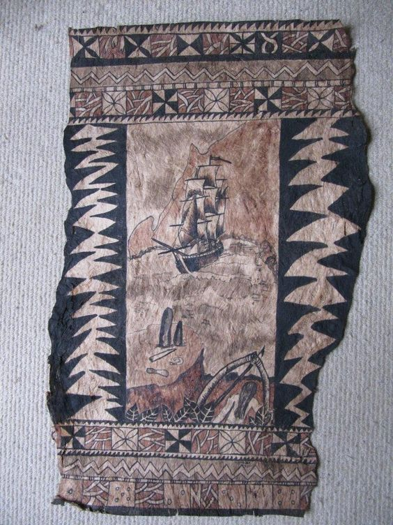 A Beautiful piece of Art, Tapa Cloth by Meralda Warren. Pitcairn Resident.