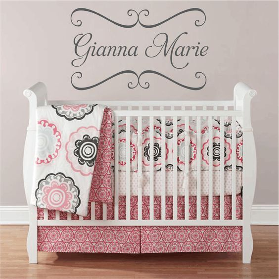 Vinyl Wall Decals - Nursery Name Wall Decal with Shabby Chic Frame - I like that this one is more simple