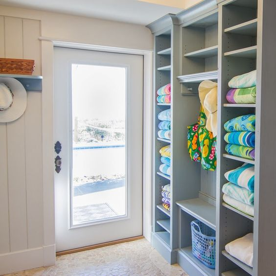 Closet full of beach towels right at hand at this myrtle for Pool bathroom ideas