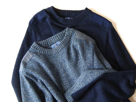 BLUE BLUE JAPAN(ブルーブルージャパン)/インディゴコットン アビエイタークルーネックセーター