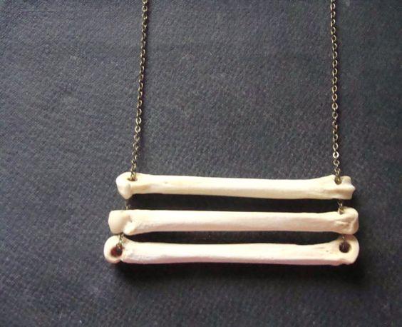 Animal Bone Necklace, Coyote Bones, Tribal Necklace on Long chain. $24.00, via Etsy.