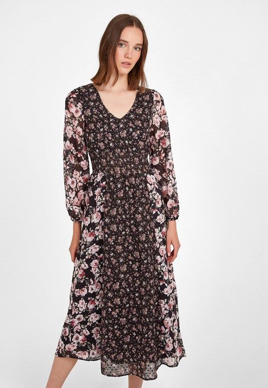 Cok Renkli V Yaka Desenli Uzun Elbise Online Alisveris 19kox Dotmixdes Oxxo Uzun Elbise Elbise Mankenler