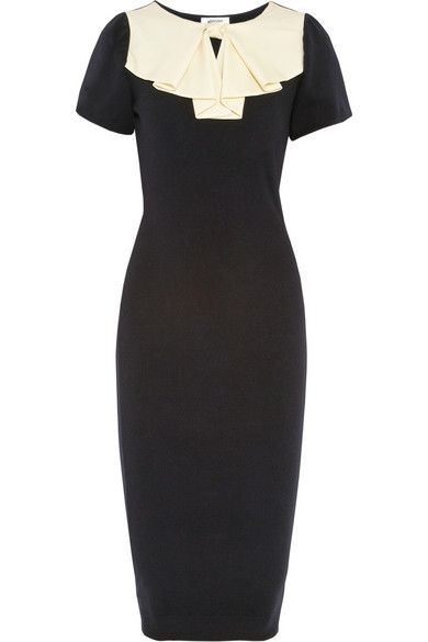 MOSCHINO | Silk-crepe bow-embellished wool dress $1,050