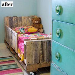 Lori danelle turned wooden pallets into an adorable bed for her daughter. (via designsponge)