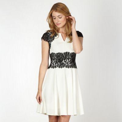 Star by Julien Macdonald Designer ivory lace shoulder fit and flare dress- at Debenhams.com