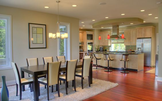 Beautiful custom kitchens and dining rooms on pinterest for Dining room off kitchen