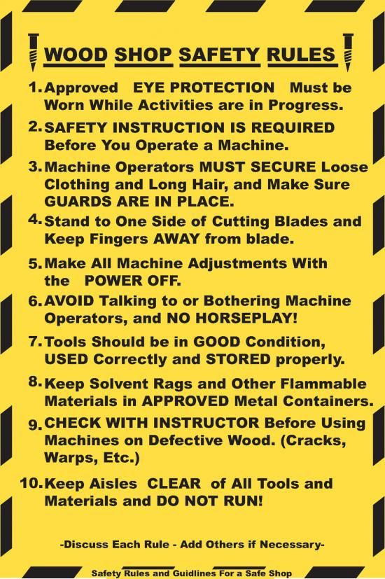 Wood Shop Safety Rules Chirs Agr 199 Pinterest Shops