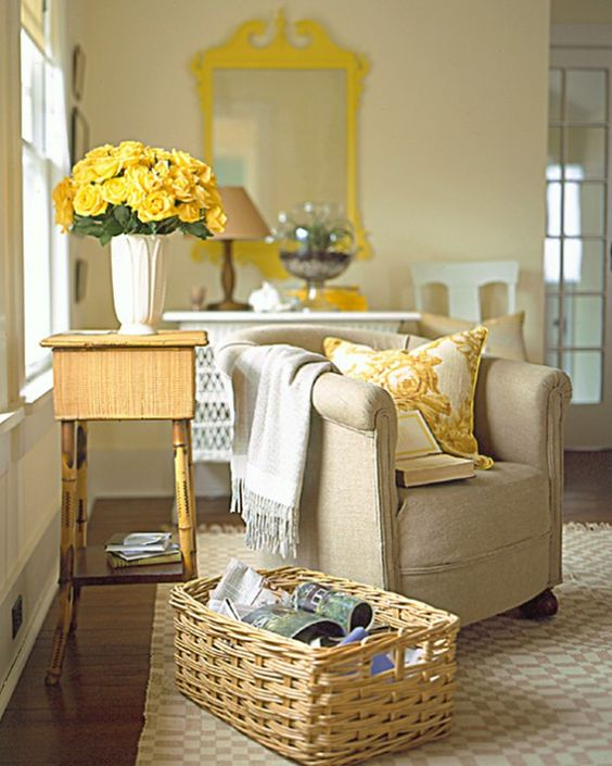 "Like an hour's worth of sunlight on a gray, rainy day, a glint of yellow in a neutral room delights. Here, working together to leaven ordinary whites and creams, is a chrome-yellow Chippendale-style mirror frame -- its happy new coat of paint causing it to ""jump off the wall""; some creamy yellows in the chair pillow's print; and the meltingly pale, new-minted gold of full-blown roses. Inspiring yellow details include notions, fabrics, and trimmings in silk, cotton, and rayon."