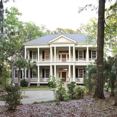 Southern house with double porch home pinterest for Southern houses with porches