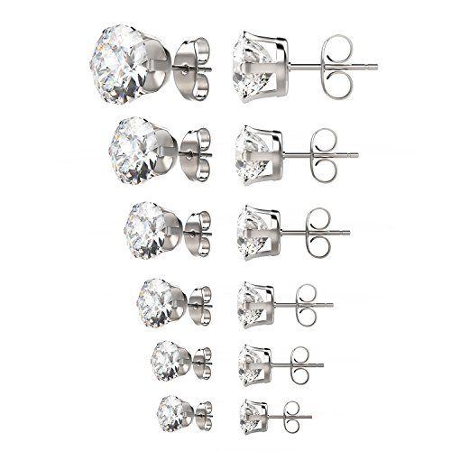 UHIBROS 6 Pairs Stainless Steel Stud Earrings Set Hypoallergenic Cubic Zirconia 18K White Gold 316L CZ Earrings 3-8mm