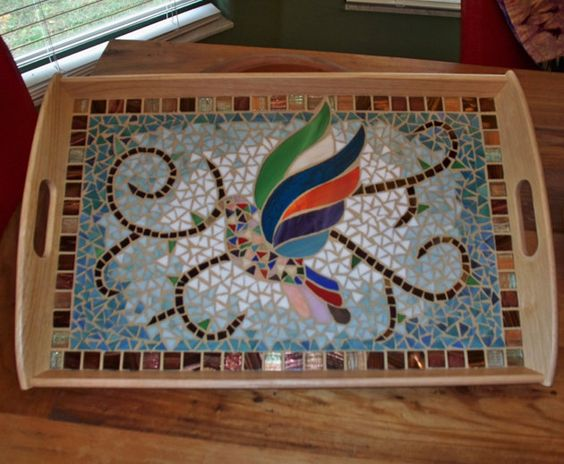Large Serving Tray with Stained Glass Bird (Dove) Mosaic.