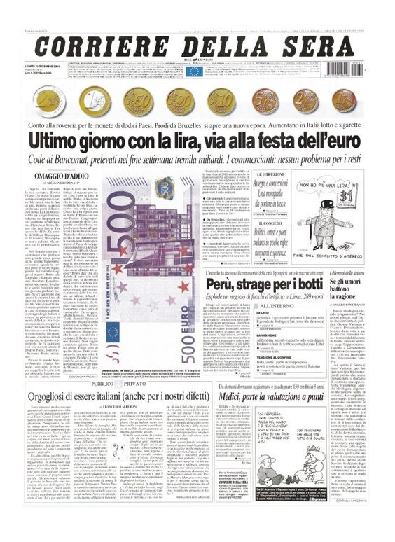 Corriere della Sera dicembre 2001 -Ciao Lira-