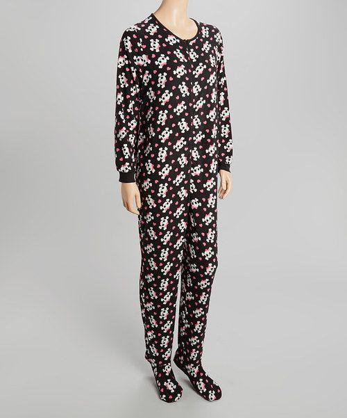 Look at this René Rofé Black Skull Footie Pajamas - Women on #zulily today!