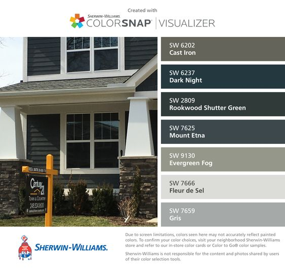 I found these colors with colorsnap visualizer for iphone by sherwin williams cast iron sw for Sherwin williams exterior paint color visualizer